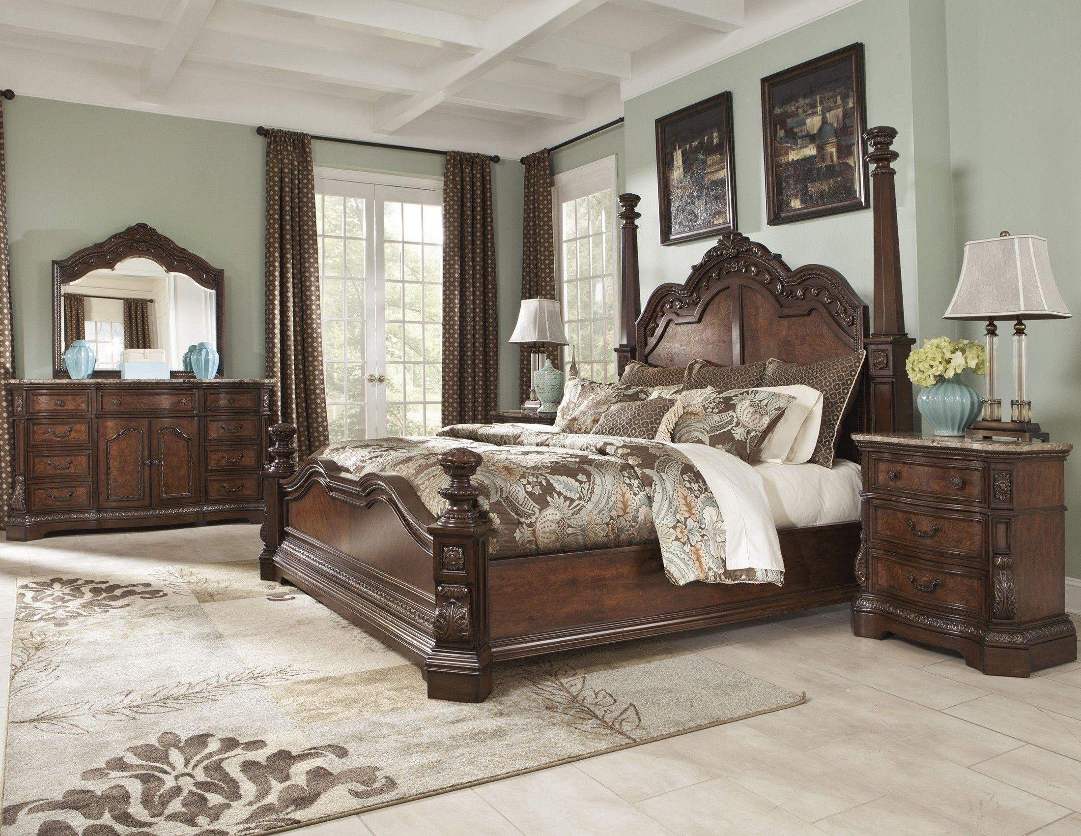 This dark cherry stained finish ledelle poster bedroom set ...
