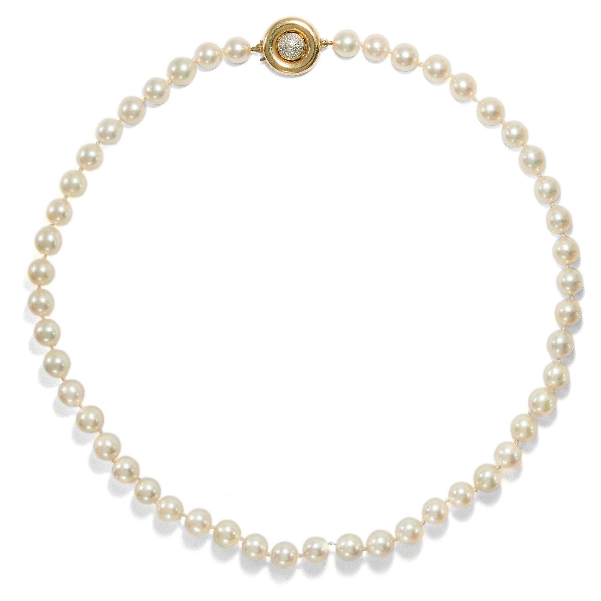 db86e3295a56 Auf zur Matinée - Luxuriöse vintage Perlenkette mit edler Schließe, um 1990  von Hofer Antikschmuck