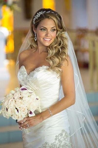 Stunning bride Julie wearing her Swarovski crystal flower headband ...