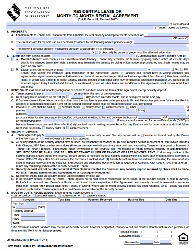 Free California Standard Residential Lease Agreement Template Pdf Word Lease Agreement Lease Being A Landlord