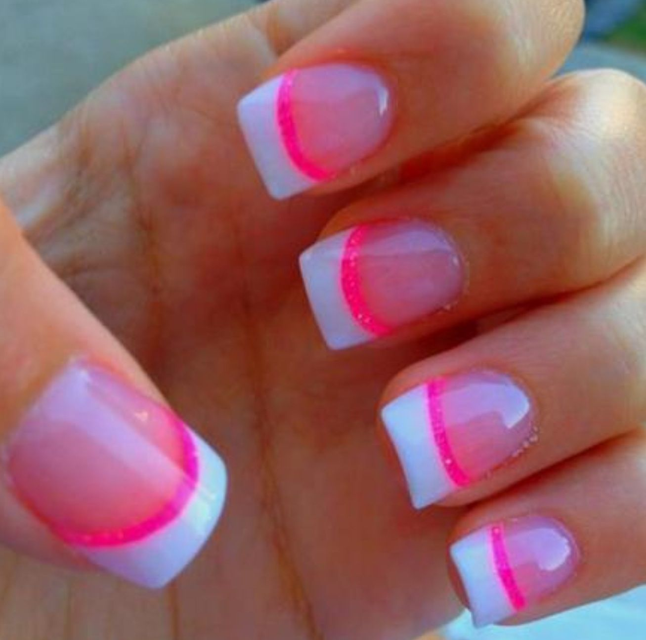 Neon French nails | Nails | Pinterest | French nails, Neon and Make up