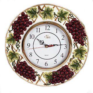 27 94 Wine Grapes Decorative Novelty Fruit Fruity Themed Wall Clock Kitchen Home Decor Vineyard Theme Purple