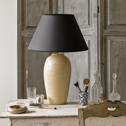 Delilah table lamp in oyster lighting with 36cm ivory silk shade base pooky