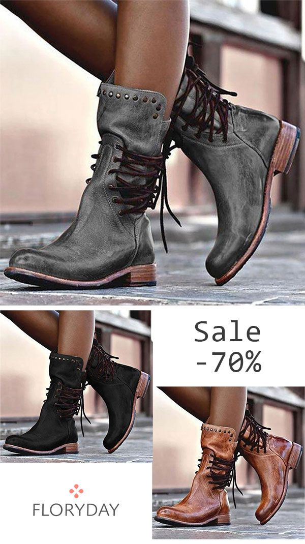 Women's lace up flat heel boots, trendy, women boots