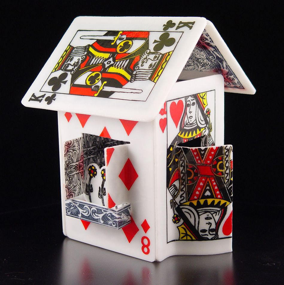 Card house cottage playing card crafts playing cards