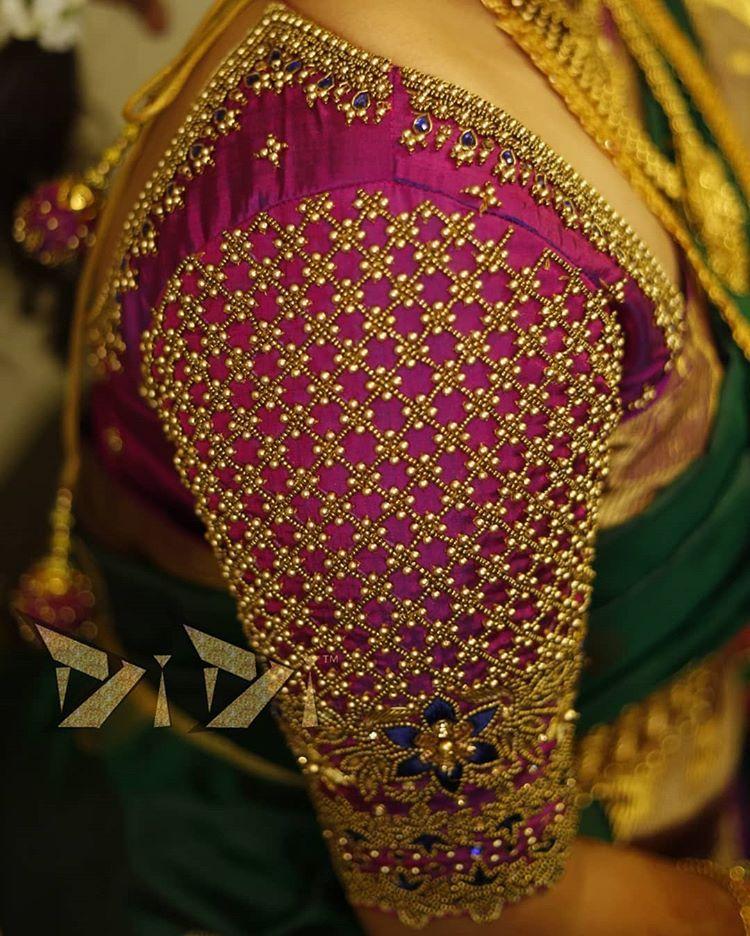 "Photo of 𝐃𝐢𝐃𝐢 𝐃𝐞𝐬𝐢𝐠𝐧𝐞𝐫 𝐒𝐭𝐮𝐝𝐢𝐨™ on Instagram: ""#silkblouse #bridalblouse #pink #gold #blue #floralembroidery #geometricwork #zardosi #zari #threadwork #antiquesequins #stones…"""