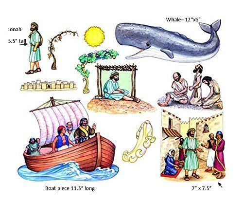 Jonah and the Whale Felt Figures for Flannel Board Bible Stories ...