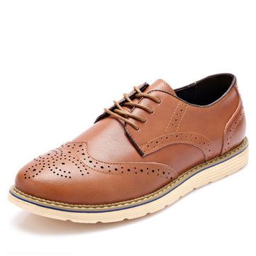 Men Fashion Brogue Shoes Lace-up Round Toe British Oxfords - US$36.06