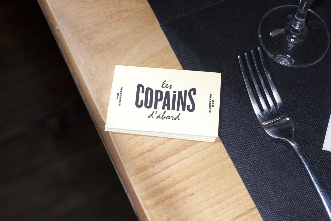 Business Card Carte De Visite Les Copains Dabord Bar Brasserie France Bordeaux