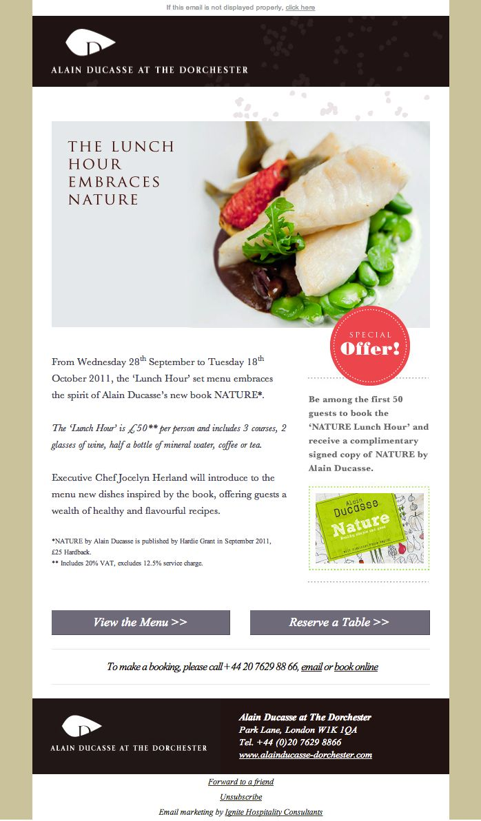 Our Design For Alain Ducasse Lunch Hour Email Design Inspiration