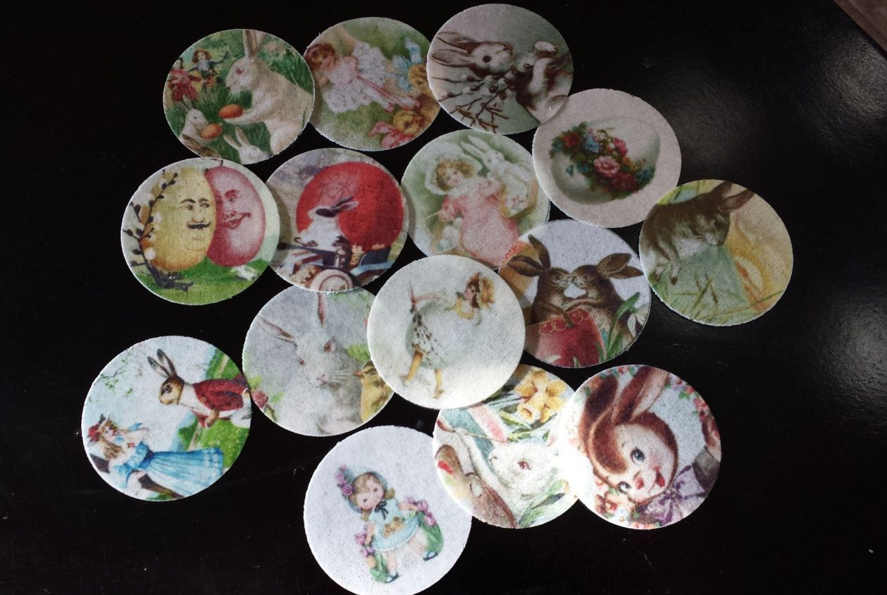 15 edible rice paper Vintage Easter cupcake or cookie toppers by ohSEWcuddly on Etsy