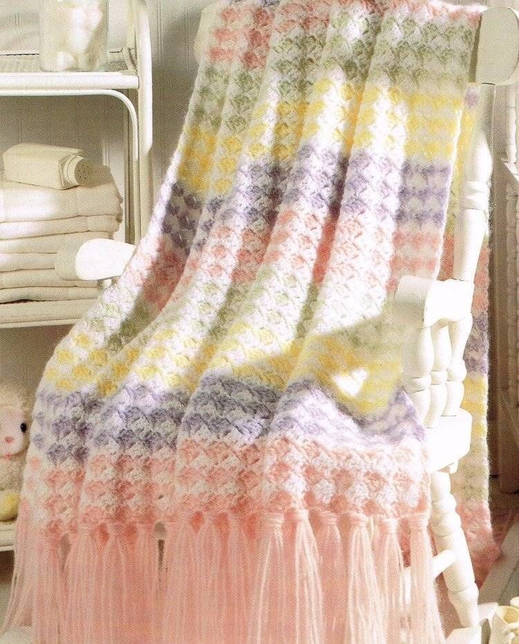 Pastel Bands Baby Afghan Crochet Pattern Blanket Throw Instructions