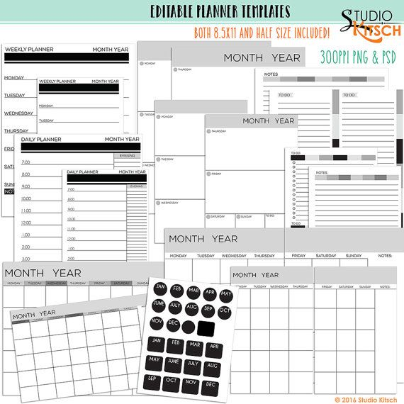 Editable Planner Pages, Templates, Printable 85x11 \ Half-Size - weekly agenda template