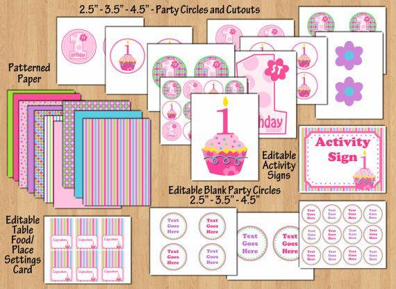cupcake birthday party cupcake birthday banner cupcake birthday invitation 1st birthday girl decorations birthday decorations cupcake
