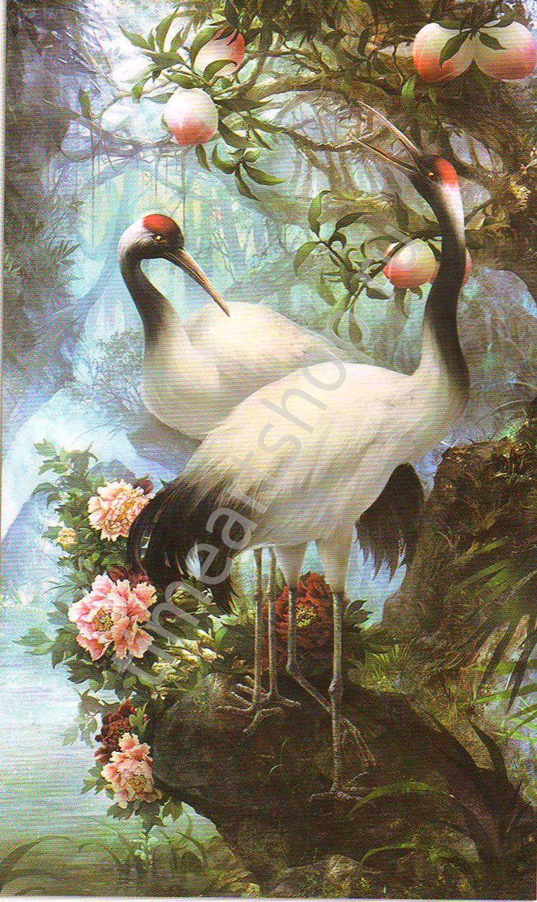 Японский журавль в райском саду, картина раскраска по ...