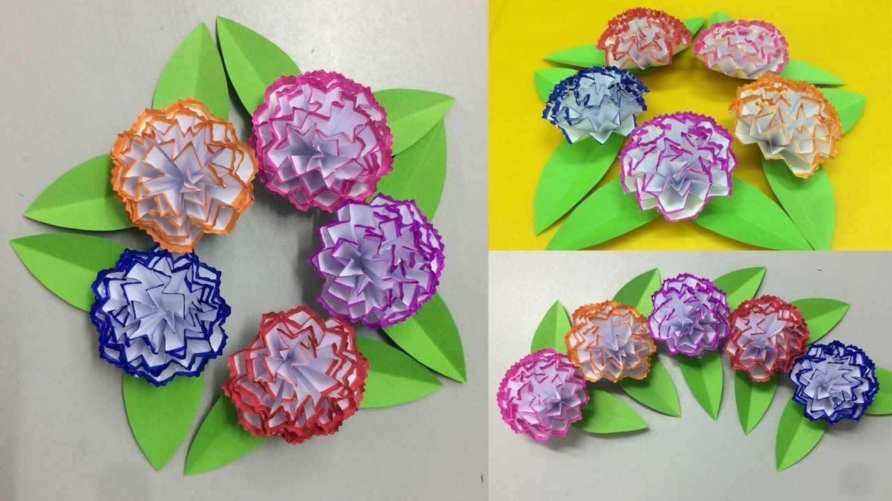 How To Make Paper Carnation Flower Making Paper Flowers Step By