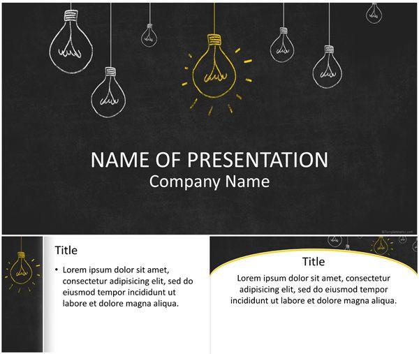 Light Bulbs On Blackboard Powerpoint Template  Alnacak eyler