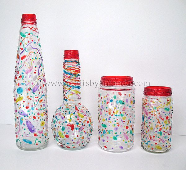 Make Your Own Confetti Party Ware:  recycle glass bottles and jars. 1~wash glass and make sure all residue and oils have been removed.   2~Rinse glass in rubbing alcohol: try to avoid touching the glass.  3~Draw on your glass with 3D Writers (from craft store).   4~Let them dry for 48 hours. After 48 hours place them into a cold oven. Turn the oven temp to 200 F. Bake for 30 minutes. Turn the oven off, open the door, and allow them to cool inside the oven.  Done!