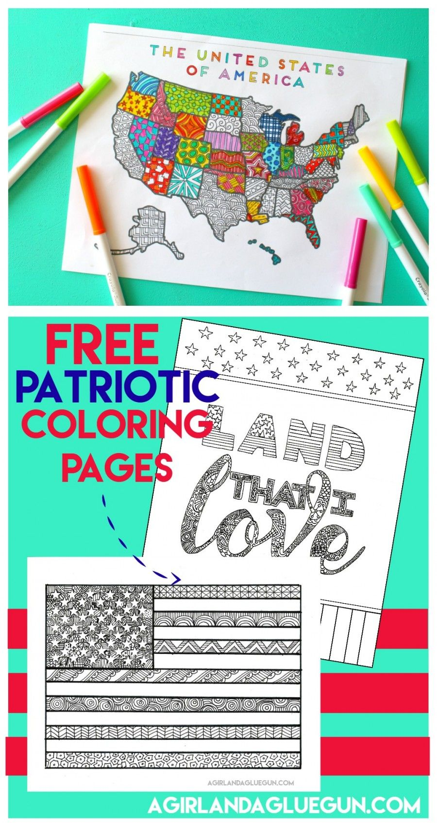 Patriotic coloring pages | Bee crafts, Free and Craft