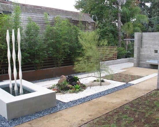 bambus sichtschutz holz gartenzaun kies wasserspiel | garten, Gartenarbeit ideen