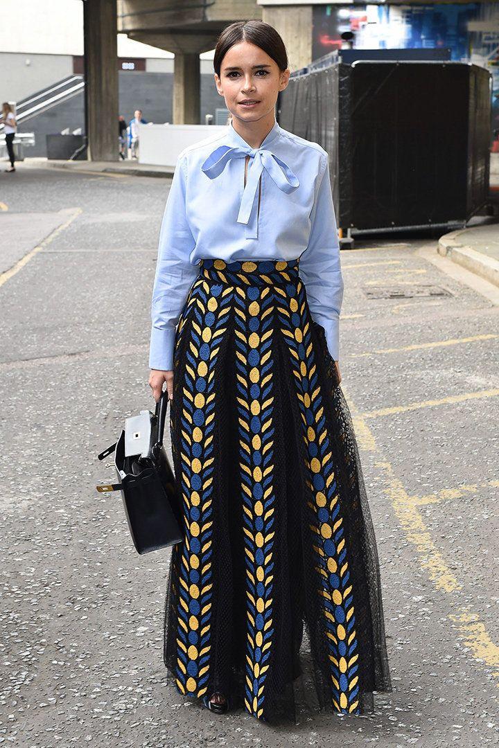 Miroslava Duma with a Valentino long skirt and blue shirt