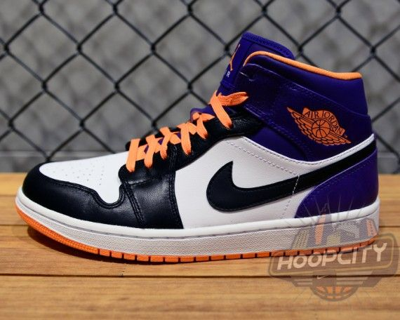 best sneakers d41d0 ef6a9 Air Jordan 1 Mid White Bright Citrus Court Purple Black