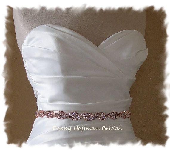 Rose Gold Bridal Belt 27 Inch Jeweled Wedding Dress Sash Crystal No