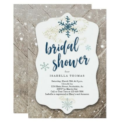Rustic Winter Snow Bridal Shower Invitation | Zazzle.com #winterwonderlandbabyshowerideas