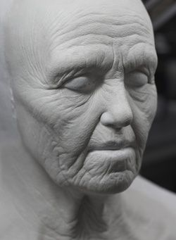 Merlin Prosthetics - BGFX (Barrie) sculpted old age prosthetics for actress Katie McGrath as Old Morgana (Hilda).