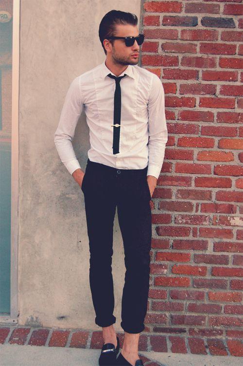 Slim tuxedo shirt short tie rolled up pants great for Extra slim tuxedo shirt