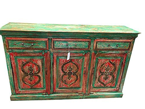 Antique Indian Sideboard Dresser Buffet Red Green Patina Shabby Chic Mogul Interior http://www.amazon.com/dp/B00PQ4OB3W/ref=cm_sw_r_pi_dp_7C0qvb0RR1K75  #sideboard #buffets #indiandecor