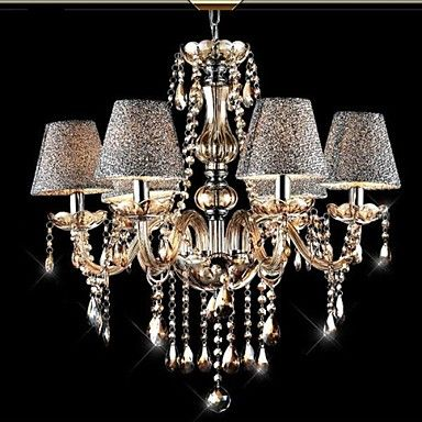 338 63 6 Light 70 27 5 Crystal Chandelier Glass Fabric Candle
