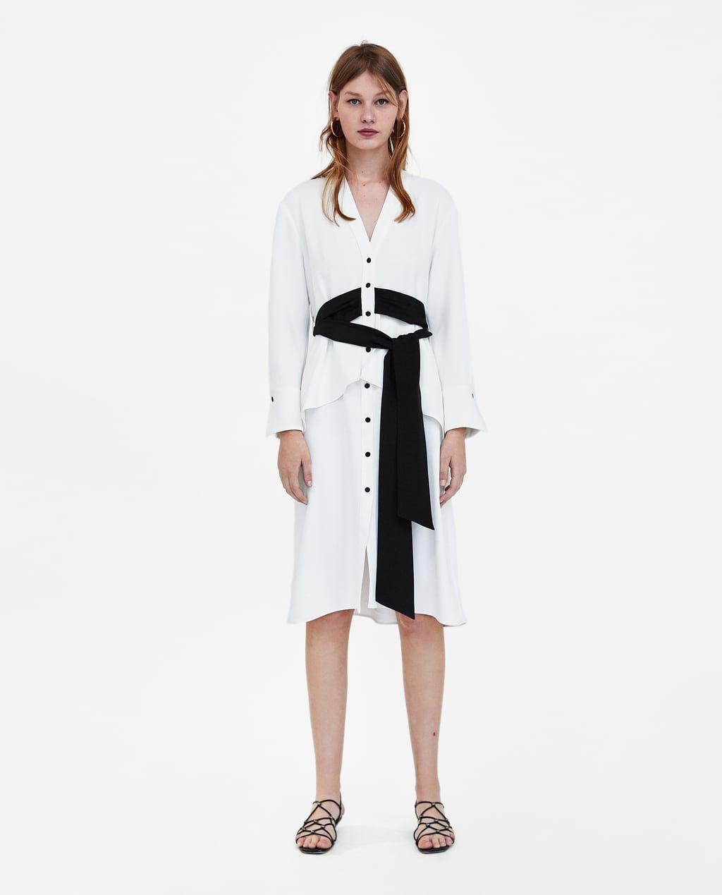 6f552e4103 DRESS WITH CONTRASTING BELT-NEW IN-WOMAN   ZARA United Kingdom ...