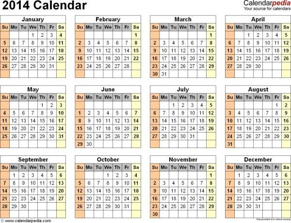 2014 calendar one page