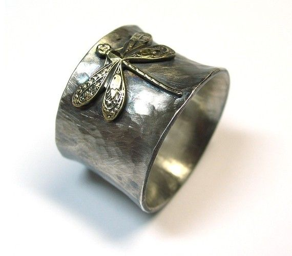 Enchanted Dragonfly - wide band ring in sterling silver with pure brass dragonfly   ...from LavenderCottage on Etsy