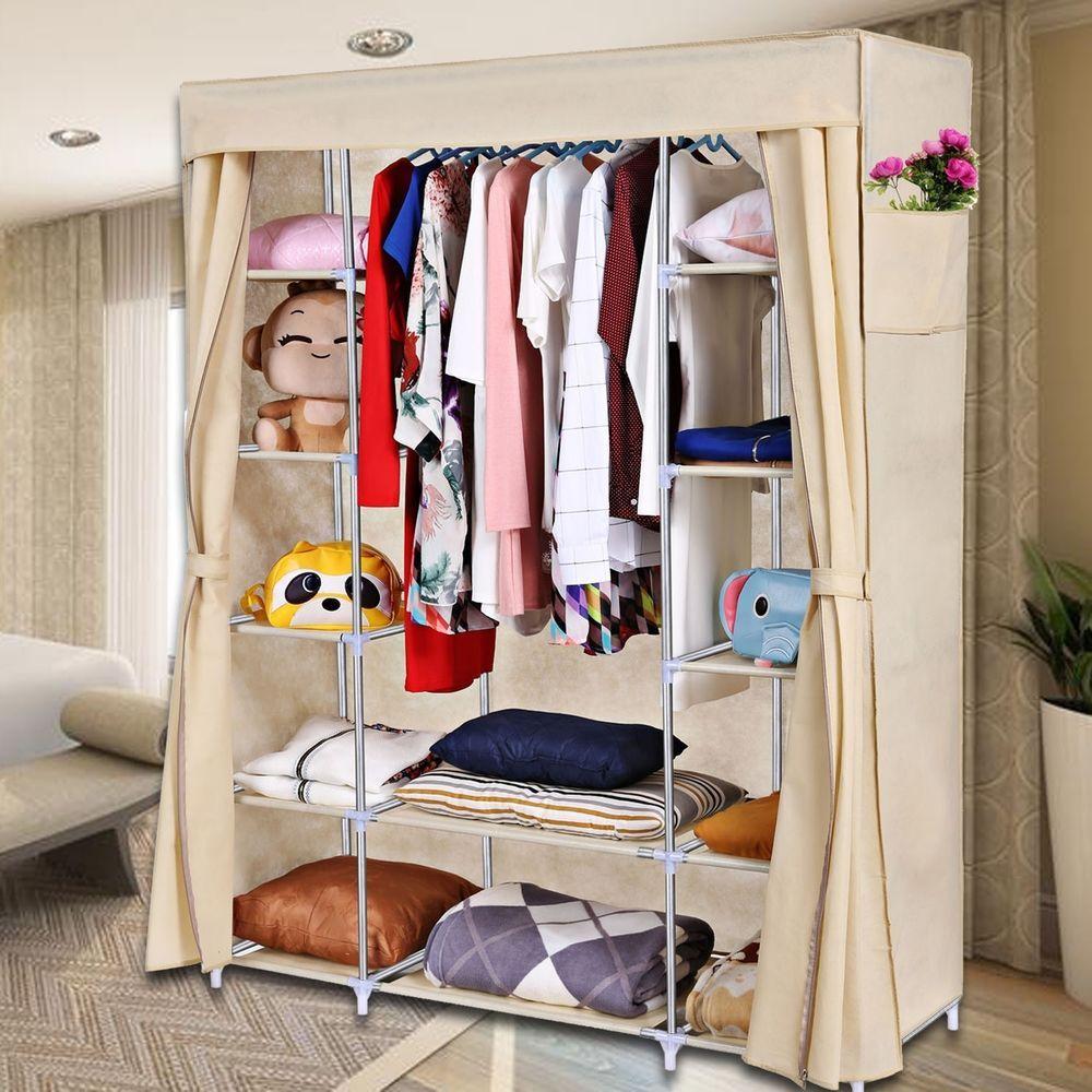 Portable Closet Storage Organizer Clothes Wardrobe Shoe Rack