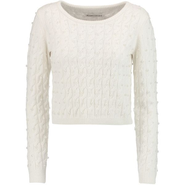 885f6cfad3f Alice + Olivia Ora faux pearl-embellished cable-knit wool sweater (910 PLN