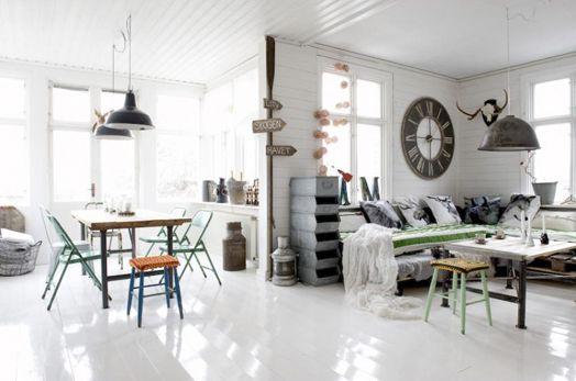 Scandinavian open plan living area. Add a bit of color. Lovely. Industrial InteriorsIndustrial Interior DesignEstilo ... & Scandinavian open plan living area. Add a bit of color. Lovely ...