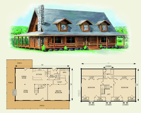 charlottesville log home and log cabin floor plan Great for a cabin, I would extend the porch all the way around the house though.