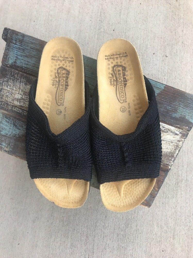 5c6065bb5742 Arcopedico Black Mesh Knit Open Toe Women s Slides Sandals Shoes EU 39  Portugal