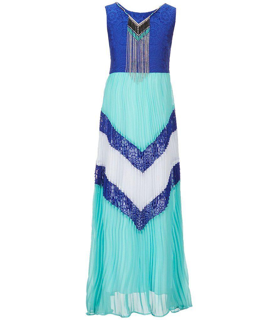 Tween Diva Big Girls 7-16 Color Block Chevron Sleeveless Maxi Dress ...