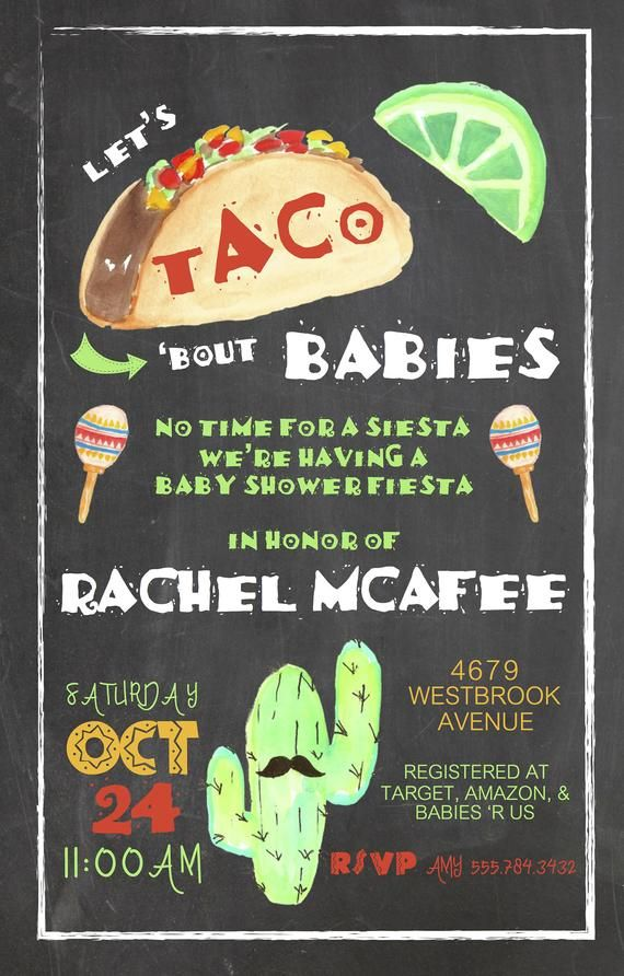 Fiesta Baby Shower Invitation, Taco bout babies invite, cactus, cacti, mexican, maracas, chalkboard, printed or digital download