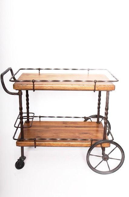 ancien bar roulant desserte en bois et fer forg a la bois robuste et avec des lignes. Black Bedroom Furniture Sets. Home Design Ideas