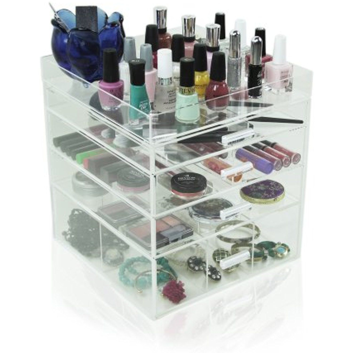 Houseables Acrylic Makeup Organizer 4 Drawers 11x11x1175 Clear
