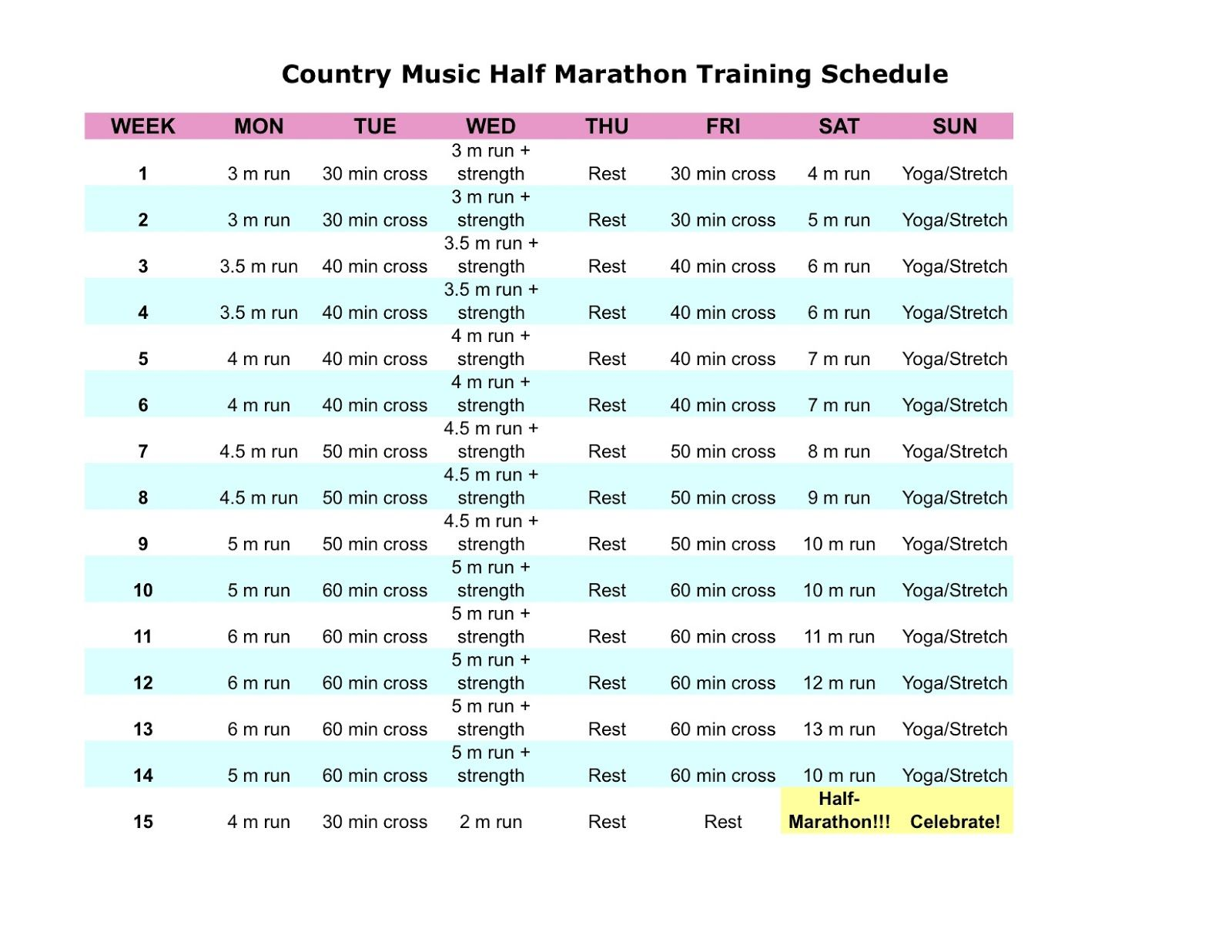 Half Marathon Training Plan  Fitness Fun    Half