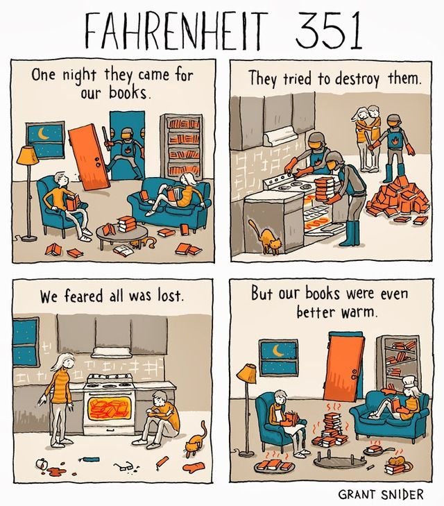 Fahrenheit 351 A Comic With A Funny Twist On Ray Bradbury S Fahrenheit 451 Fahrenheit 451 Books Geek Books Fahrenheit 451 literary devices worksheet