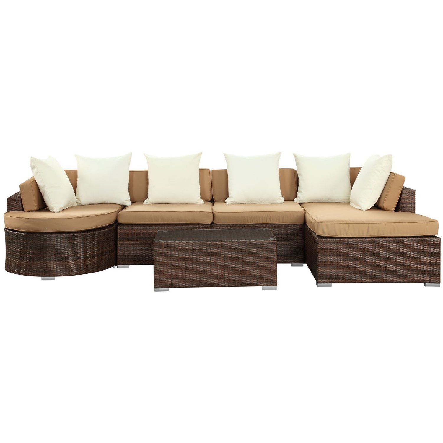Lexmod Monterey Outdoor Wicker Rattan Sectional Sofa Set Seat Support Saver Modern Patio Home Decor Indoor And Out