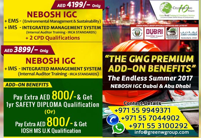 Gwg Offer Packages At Best Rate 1 Pay Nebosh Igc Course Aed 4199