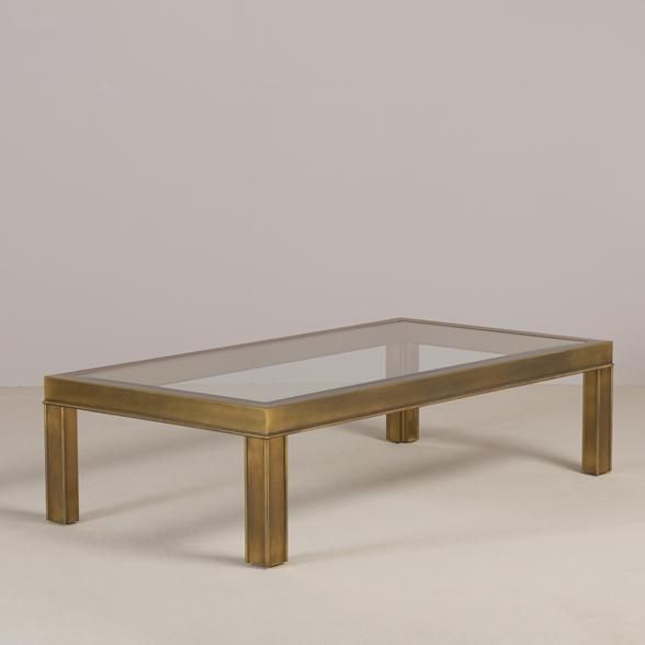 A Mastercraft Style Rectangular Brass And Glass Coffee Table 1970s Table Glass Furniture