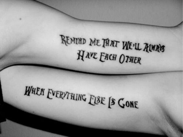 Brother And Sister Matching Lettering Tattoo Idea Brother Tattoos Unique Sister Tattoos Sister Tattoos